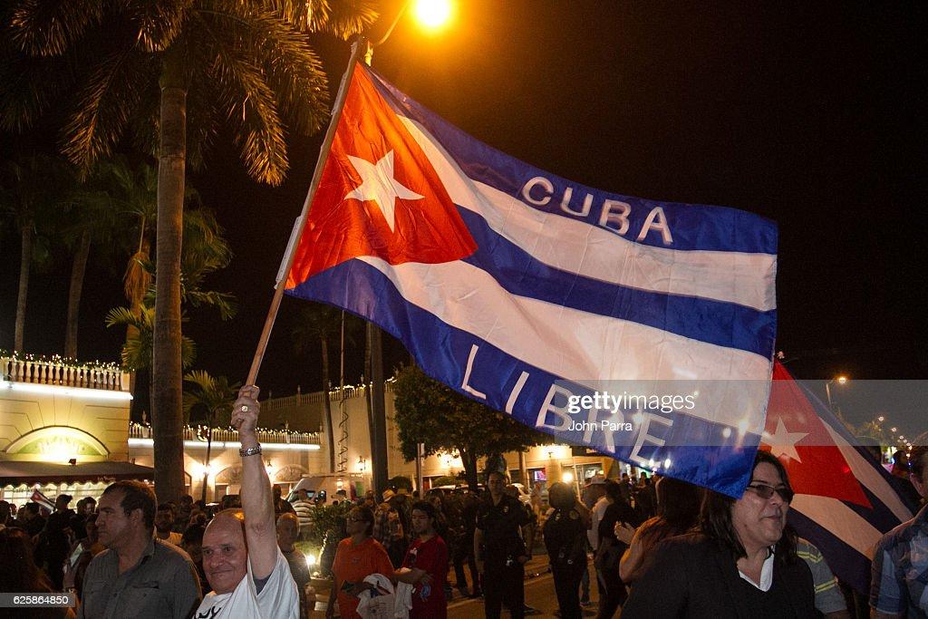 Miami Residents Celebrate The Death Of Fidel Castro : News Photo