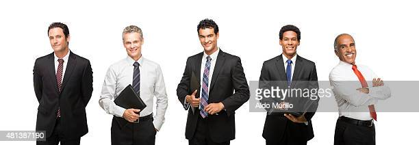 Cuban and Latin male business people smiling