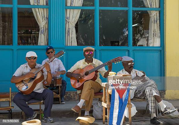 A cuban band in a street of old Havana