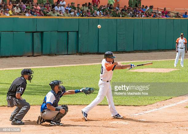 Cuban baseball classic Industriales vs Villa Clara in the stadium Sandino Frank Morejon plays catcher for Industriales
