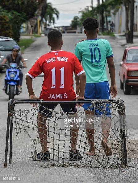 3dcf6939d949 Cuban boys play football on a street in Havana, on July 12 three days...  News Photo - Getty Images