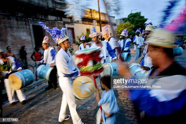 Cuban carnival group performs during the Camaguey carnival June 25 2008 in Camaguey Cuba The first day celebration of the Camaguey St John Holiday...