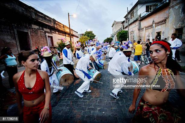 Cuban carnival groups perform during the Camaguey carnival June 25 2008 in Camaguey Cuba The first day celebration of the Camaguey St John Holiday...