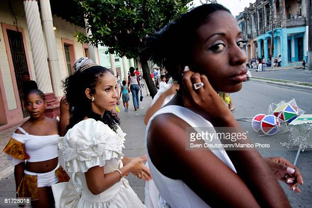 Cuban carnival princesses get ready during the Camaguey carnival June 25 2008 in Camaguey Cuba The first day celebration of the Camaguey St John...