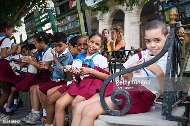 Cuban children in school uniforms