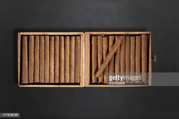 Cuban Cigar Box On Blackboard