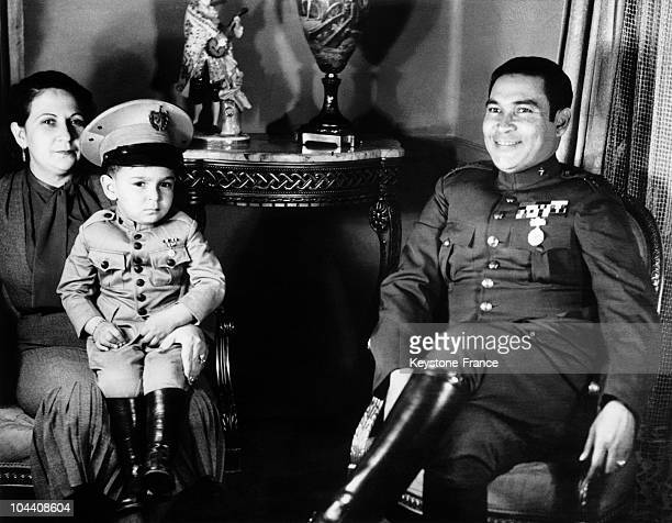 Cuban Colonel Fulgencio BATISTA relaxing with his wife and his son Ruben on Christmas Eve