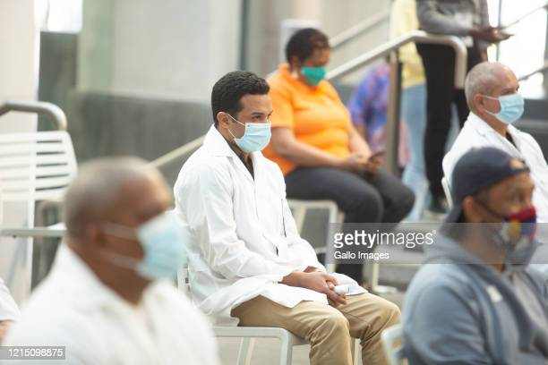 Cuban doctors during a welcome ceremony for Cuban health workers who were deployed to the Western Cape to support efforts in the fight against...