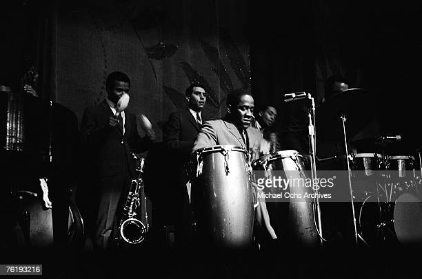 Cuban drummer and bandleader Mongo Santamaria performs circa mid1964 at the Apollo Theater in Harlem New York