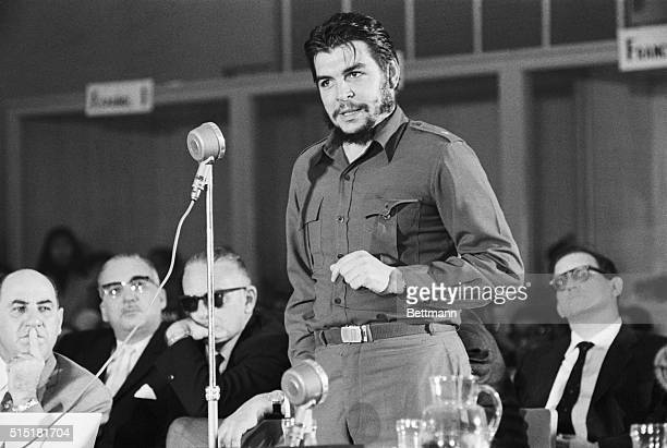 Cuban Economic Minister Che Guevara during a speech at the InterAmerican Economic and Social Conference in which he accuses the United States of...