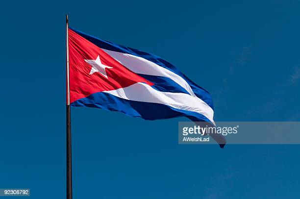 cuban flag in the wind - cuban flag stock pictures, royalty-free photos & images