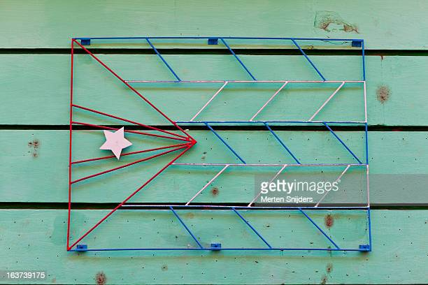 Cuban flag made from iron wire