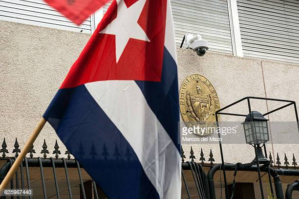 Cuban Flags waveed at the Cuban Embassy on the day that Fidel Castro died