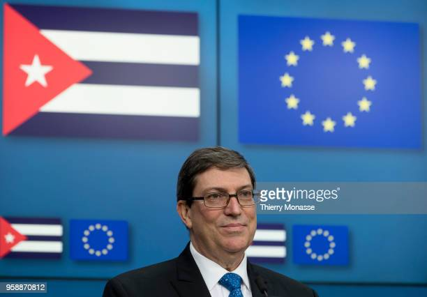 Cuban Foreign Affairs Minister Bruno Rodriguez attends a signature ceremony of an agreement on renewable energy after a meeting on May 15, 2018 in...