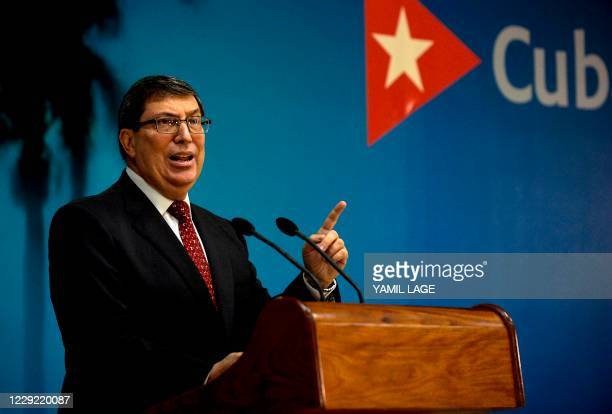 Cuban Foreign Affairs Minister Bruno Rodriguez speaks during a press conference to denounce the intensification of the United States blockade despite...