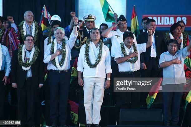 Cuban Foreign Minister Bruno Rodríguez Parrilla Bolivian Vice President Álvaro García Linera Ecuadorian President Rafael Correa and Bolivian...