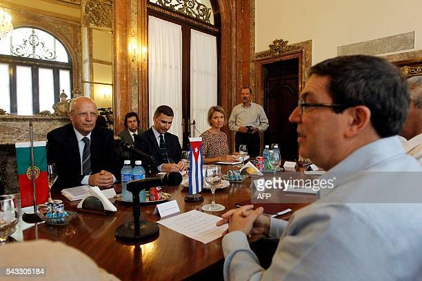 Cuban Foreign Minister Bruno Rodriguez and his Portuguese counterpart Augusto Santos Silva hold a meeting at the Foreign Ministry in Havana on June...