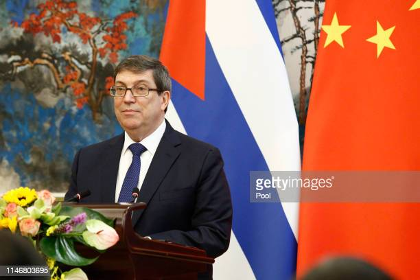Cuban Foreign Minister Bruno Rodriguez attends a news conference with Chinese Foreign Minister Wang Yi at Diaoyutai state guesthouse on May 29, 2019...