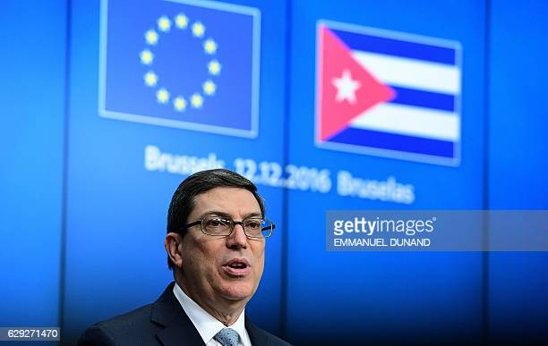 Cuban Foreign Minister Bruno Rodriguez Parrilla addresses a press conference after an EU-Cuba political dialogue and cooperation agreement in...