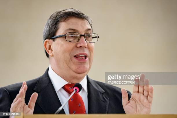 Cuban Foreign Minister Bruno Rodriguez Parrilla addresses the UN Human Rights Council's main annual session on February 25, 2020 in Geneva.