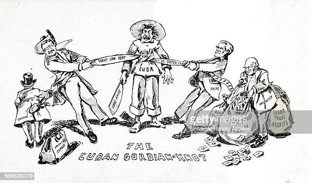 Cuban GordianKnot 1902 Cartoon shows Theodore Roosevelt and Republican House Majority Leader Sereno Payne tightening a knot in a cord 'Tariff Law...