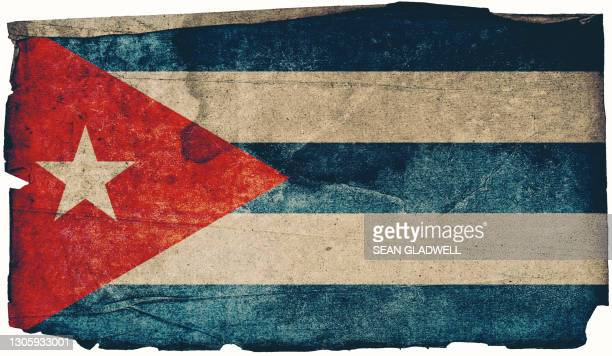 cuban grunge flag poster - cuban flag stock pictures, royalty-free photos & images