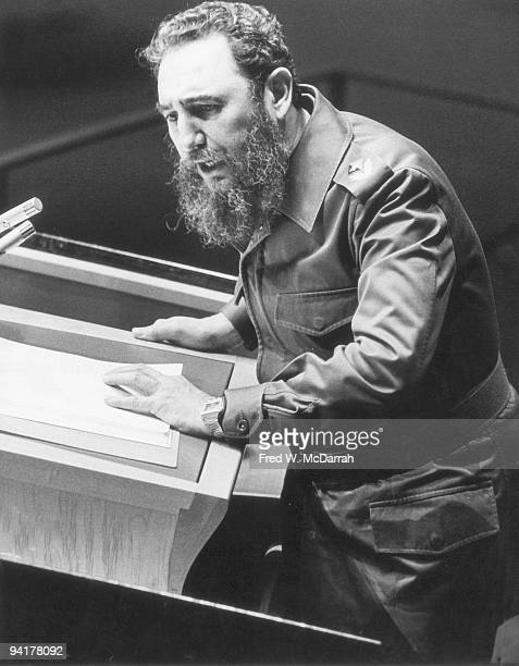 Cuban guerilla leader and president Fidel Castro gestures as he addresses the 34th General Assembly of the United Nations New York New York October...