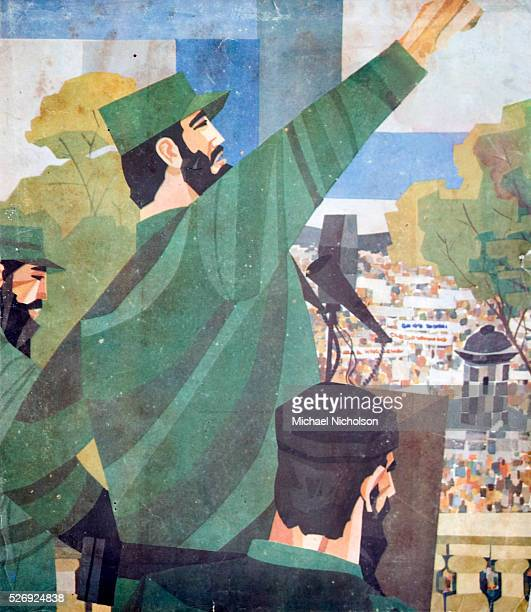 Cuban illustration depicting Fidel Castro addressing the Cuban people shortly after his accession to power