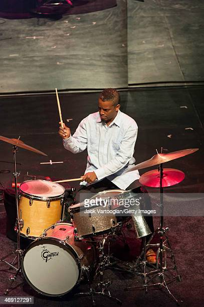Cuban Jazz musician Francisco Mela plays drums during a performance with Melissa Aldana's Crash Trio at a 'Monk-in-Motion: The Next Face of Jazz...
