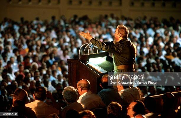 Cuban leader Fidel Castro addresses the crowd during a ceremony for the 40th anniversary of the attack on the Moncada barracks in Santiago de Cuba...
