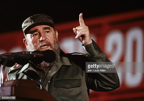 Cuban leader Fidel Castro delivers a speech during the 30th anniversary of the Cuban revolution