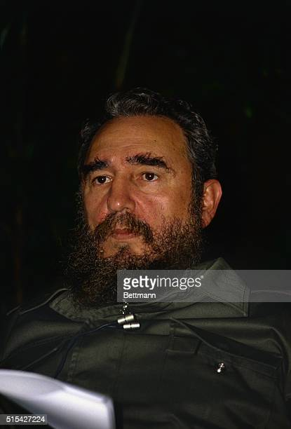 Cuban leader Fidel Castro during a press conference with reporters early in the morning