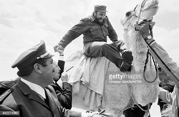 Cuban leader Fidel Castro looks unsteady while riding a camel and almost took a nose dive before being helped by Algerian President Boumedienne...