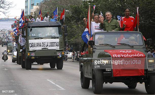 Cuban leader Fidel Castro's son Fidel Castro DiazBalart leads a convoy on a jeep along Havana's streets on January 8 to celebrate the 50th...