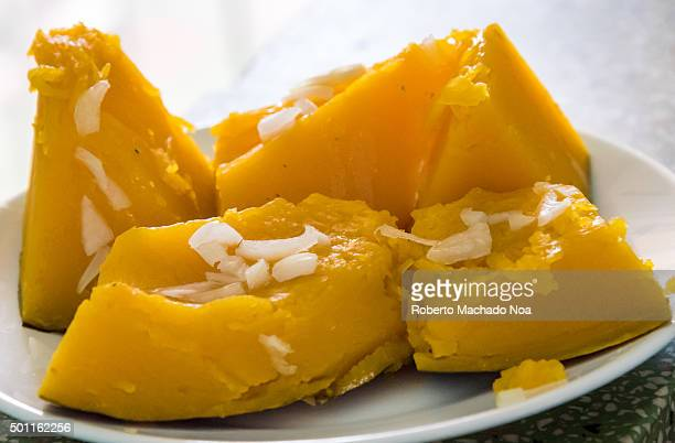 Cuban low calorie cuisine Pumpkin cooked in Cuban style by boiling it with onions and vegetable oil making it a healthy and low calorie diet