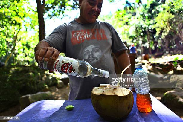 Cuban man wearing a Che Guevara tshirt prepares a fresh coconut lime rum and honey cocktail on December 21 2015 at Soroa Cuba Sugar is said to have...