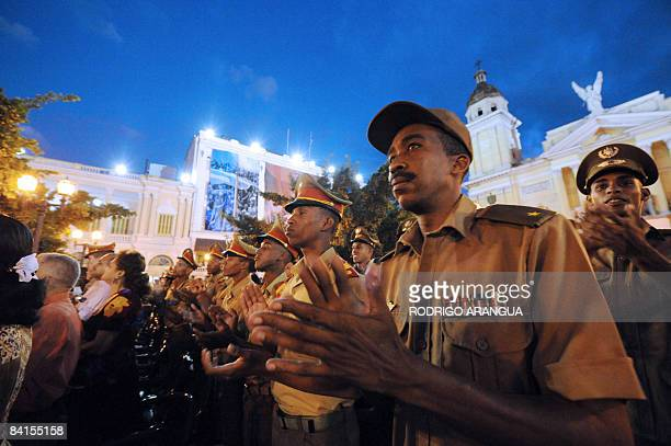 Cuban military applaud on January 1 2009 during the celebration of the 50th anniversary of the Cuban Revolution in Santiago de Cuba Communist Cuba...