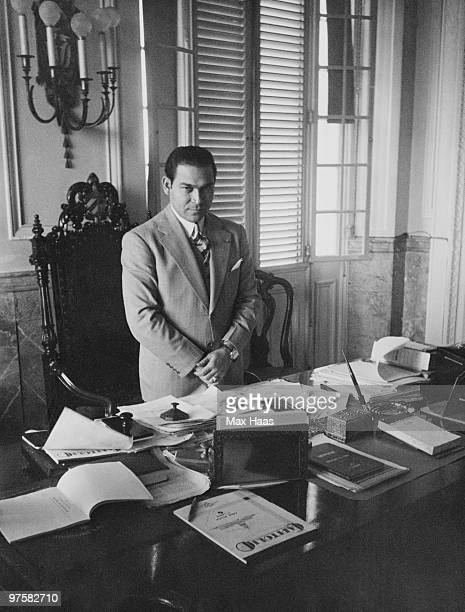 Cuban military leader Fulgencio Batista at his desk 1937 He was President of Cuba from 1940 to 1944 and from 1952 to 1959