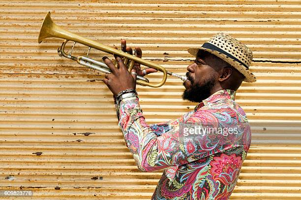 cuban musician playing trumpet, havana, cuba - old havana stock pictures, royalty-free photos & images