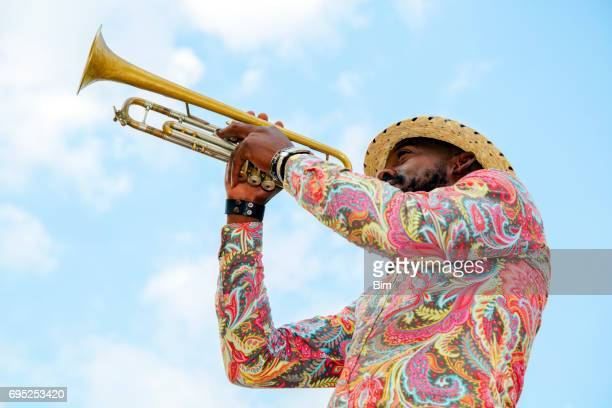 cuban musician with trumpet, havana, cuba - jazz stock pictures, royalty-free photos & images