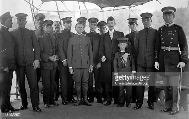 Cuban Officers of the ship Cuba in New York to attend unveiling ceremonies for memorial at entrance to Central Park New York to the battleship Maine...