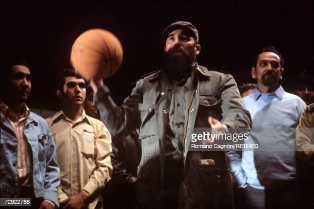 Cuban premier Fidel Castro during a game of basketball circa 1972