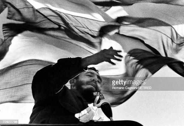 Cuban premier Fidel Castro speaking in Chile 1972