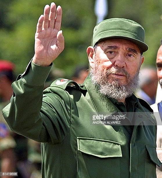 Cuban President Fidel Castro arrives in Santa Elena de Uairen, Venezuela, 950kms south of Caracas, 13 August 2001. Castro attended a ceremony where...