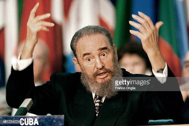 Cuban President Fidel Castro attends the World Food Summit at the FAO Palace on November 18 1996 in Rome Italy