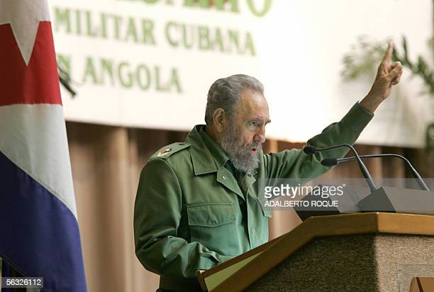 Cuban President Fidel Castro delivers a speech 02 December 2005 at the Conventions Center in Havana Castro paid tribute to his country's armed forces...
