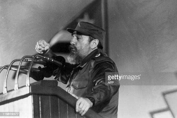 Cuban president Fidel Castro delivers a speech at a ceremony to commemorate the 30th Anniversary of the Cuban Revolution in Havana 4 January 1989 AFP...