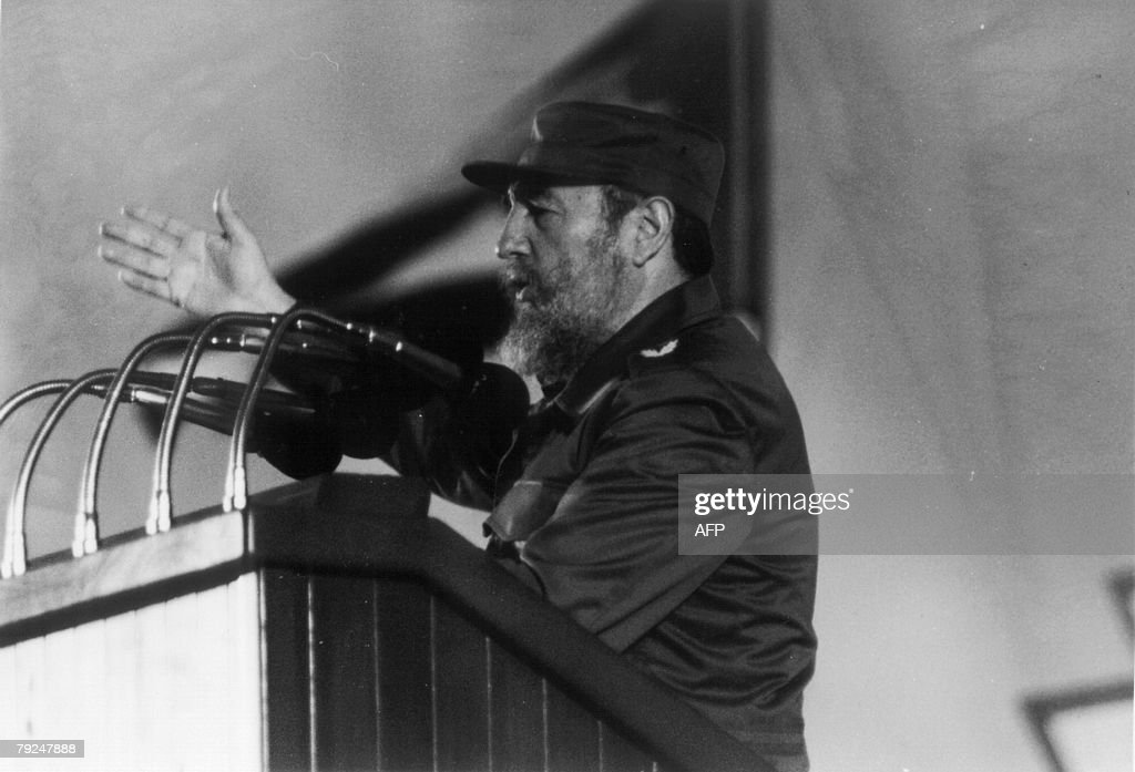 Cuban president, Fidel Castro, delivers a speech at a ceremony to commemorate the 30th Anniversary of the Cuban Revolution in Havana, 4 January 1989.