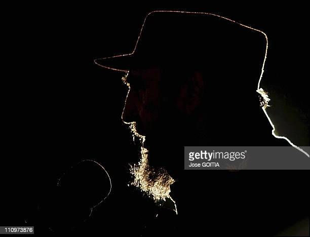 Cuban President Fidel Castro delivers a speech in Havana Cuba on February 02nd 2006 as Venezuela's president received a UN prize named Jose Marti for...