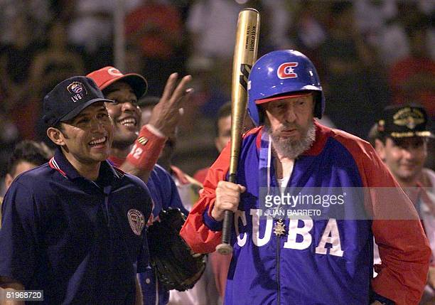 Cuban President Fidel Castro gets ready to bat during a friendly baseball game againt the Venezuelan team 28 October 2000 in Barquisimeto 350km east...